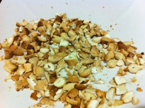 Roasted cashew and almond nuts, roughly chopped