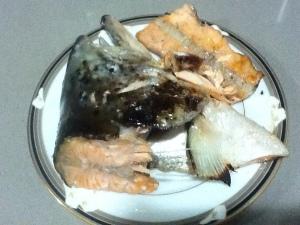 Grilled salmon fish collar