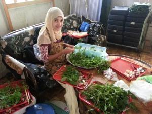Preparing the herbs for nasi ulam