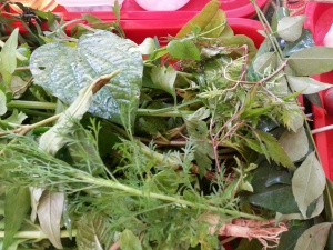 Herbs for Nasi Ulam - most can be purchased from Tekka Market