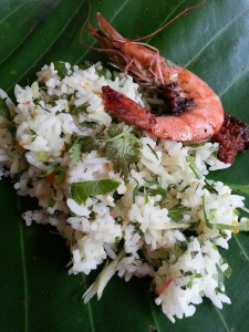 Plate it on a banana leaf garnished with prawns and mint leaves