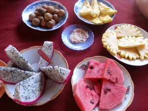 Dragon fruit, pineapple, pomelo, longan - fruit paradise at My Tho