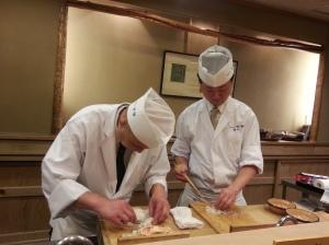 Watching chefs prepare food