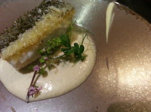 Cod served with pretty Shiso flower