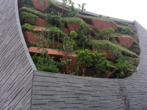 Cliff vegetation at the facade of LKC Natural History Museum