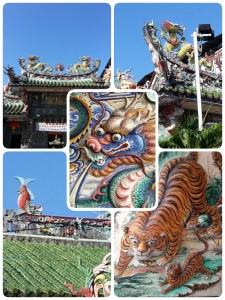 Chinese temple with dragons, tigers and even carp on its way to transforming into a dragon