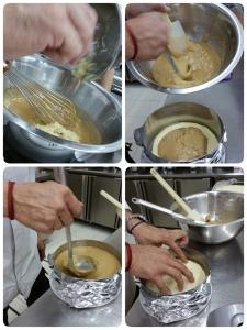Pouring into the cake tin